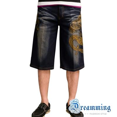 日系龍紋圖騰設計挺實修飾牛仔短褲添加彈性纖維更輕鬆舒適