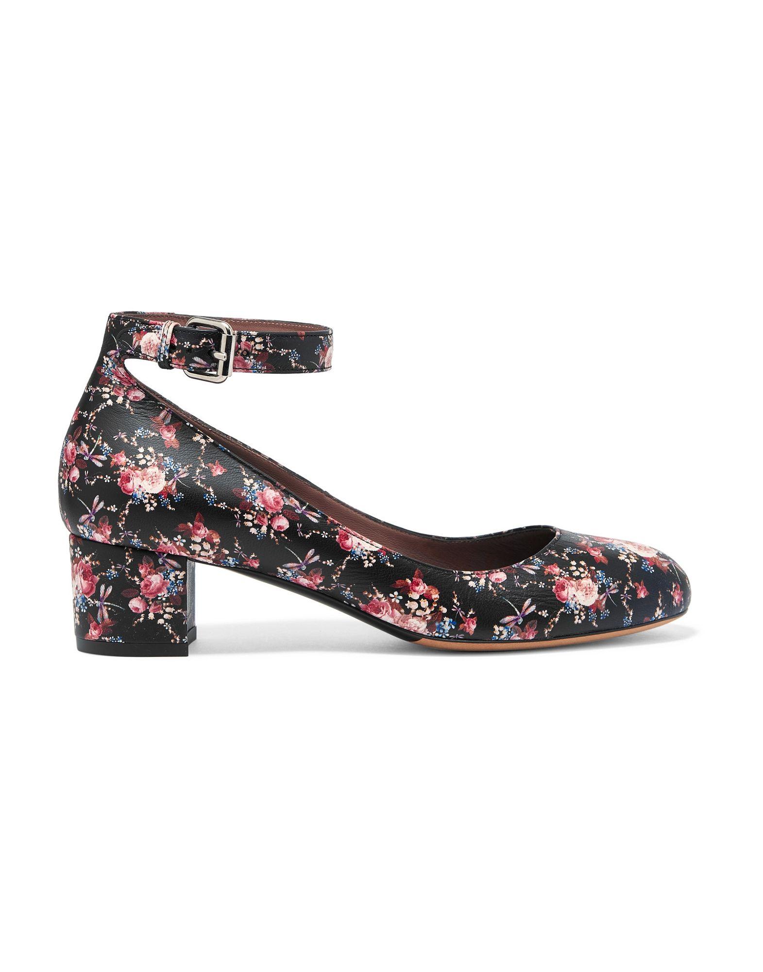 nappa leather, no appliqués, floral design, buckling ankle strap closure, round toeline, square heel