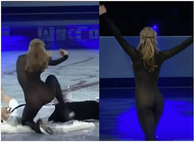 ▲俄羅斯溜冰女選手在舞台中表演花式溜冰,一身黑色金蔥的貼身服裝意外引發話題。(圖/翻攝自 YouTube )
