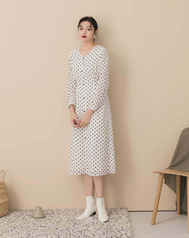 MEIERQ+小復古圓點綁帶排釦洋裝