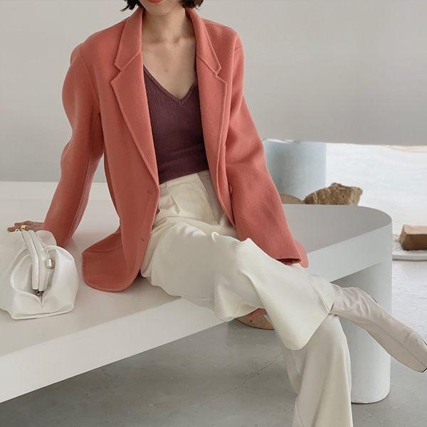 毛呢大衣 羊毛外套-短版純色寬鬆翻領女外套5色[巴黎精品]