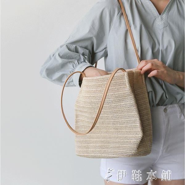 草編包 包包女韓版手提草編沙灘包度假大容量簡約編織單肩水桶包 伊鞋本鋪