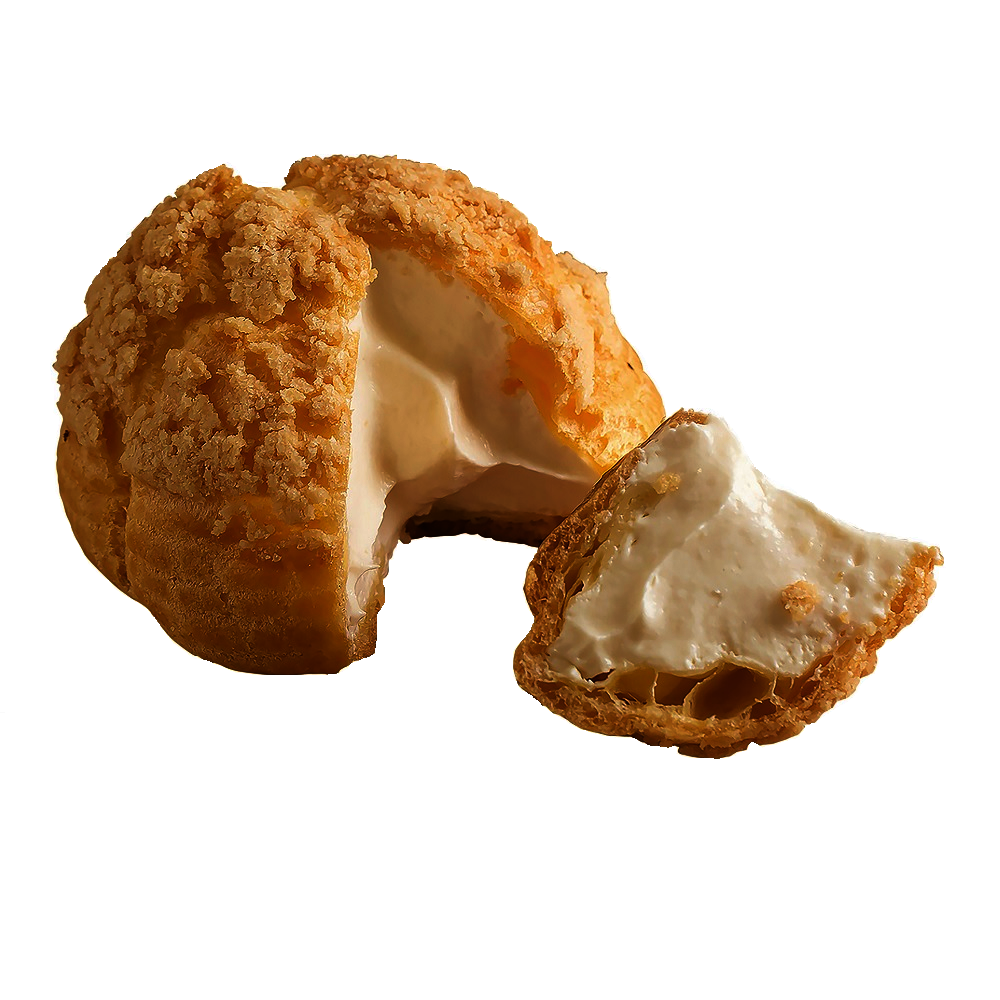 菠蘿酥皮+極品生乳=一口入魂!!使用紐西蘭天然奶油,烘焙出金黃香酥的菠蘿泡芙外皮100%使用日本第一品牌『中澤乳業鮮奶油』與來自北海道十勝天然放牧牛乳和濃稠卡士達醬