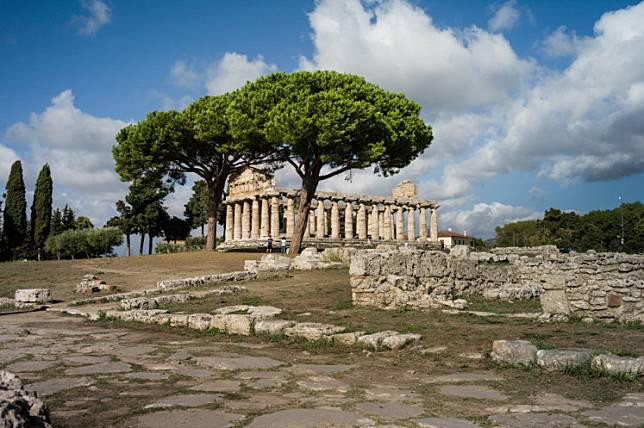 The temple of Athena is pictured on September 14, 2017 at the Paestum and Velia archeological park which contains three of the most well-preserved ancient Greek temples in the world, in Capaccio-Paestum, near Naples.