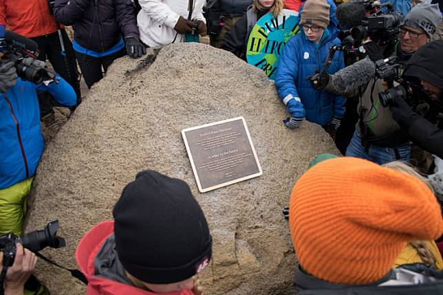 A monument is unveiled at the site of Okjokull, Iceland's first glacier lost to climate change in the west of Iceland on August 18, 2019.