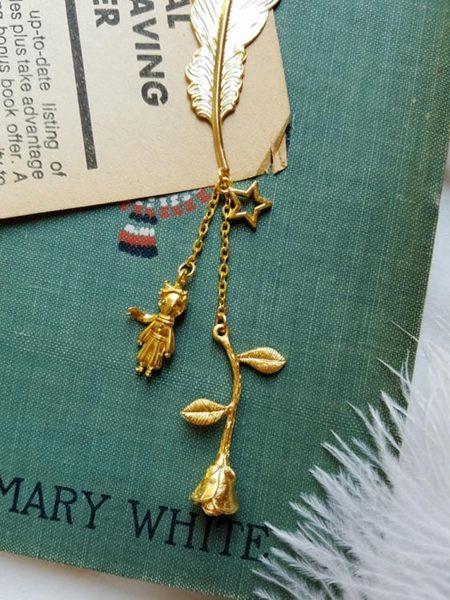 書籤 小王子與玫瑰花 金色羽毛文藝復古ins書簽送男女友創意生日禮物品 非凡小鋪