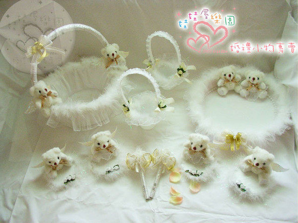 娃娃屋樂園~白色天使情人10件組 每組2100元/喜糖籃/簽名筆/婚禮小物/二次進場