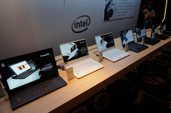 Acer ConceptD 全系列產品將自即日陸續登場,展示桌上每一台筆電都是不同型號。