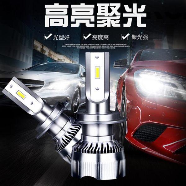 超亮汽車LED大燈遠近光燈h79012一體改裝h11H4透鏡聚光激光前照燈