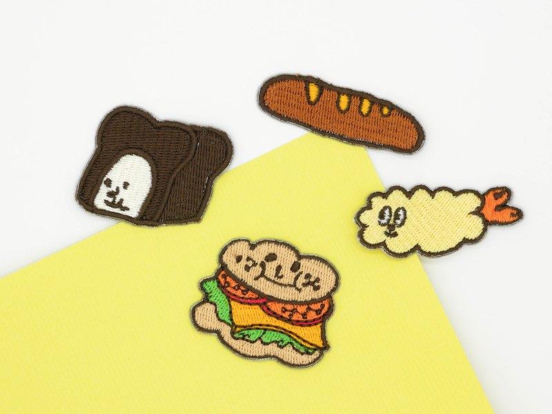可愛食物款系列燙貼布章總共有四款巧克力吐司、漢堡、炸蝦、麵包