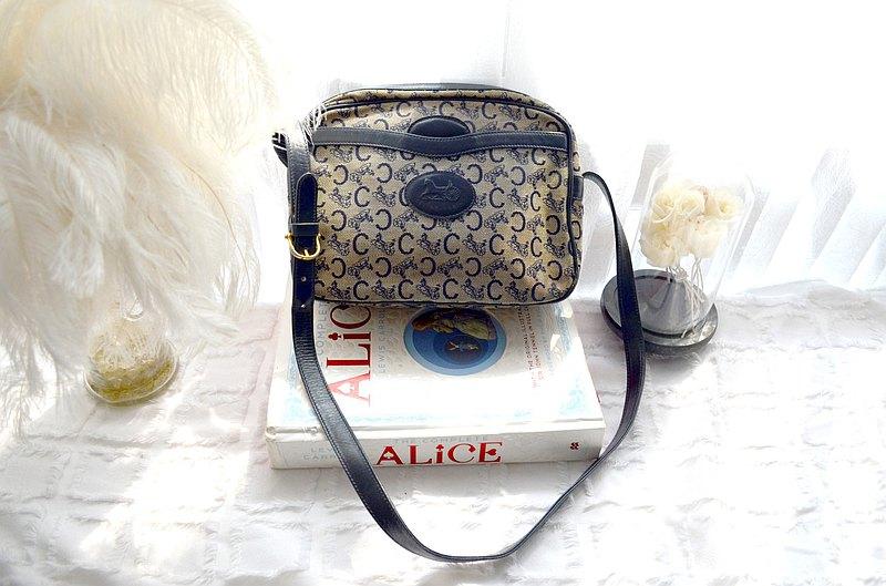 中古 CELINE CC提花帆布+真皮手袋包包 意大利高級二手古著珠寶首飾 高貴優雅復古造型