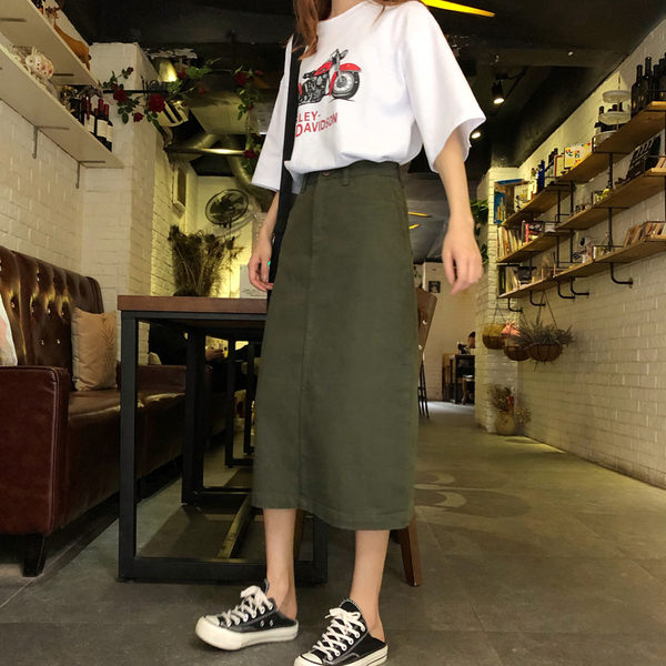 【GZ62】牛仔裙 夏季高腰單釦軍綠色牛仔半身裙 休閒A字裙 中長裙