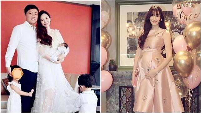 41歲女星吳佩慈為未婚夫、富商紀曉波陸續產生下2子1女,目前肚中懷有第4胎。圖/翻攝自微博、吳佩慈IG