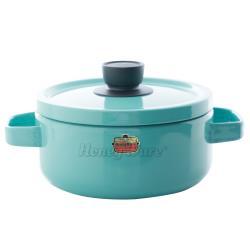 Honey ware 日本富士琺瑯 Solid系列-20cm雙耳附蓋琺瑯鍋3.0L-湖水綠(琺瑯/湯鍋/雙耳)