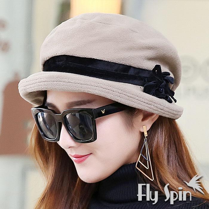 羊毛混紡毛呢時尚保暖南瓜貝蕾淑女冬帽(米色)14AW-S009 FLY SPIN
