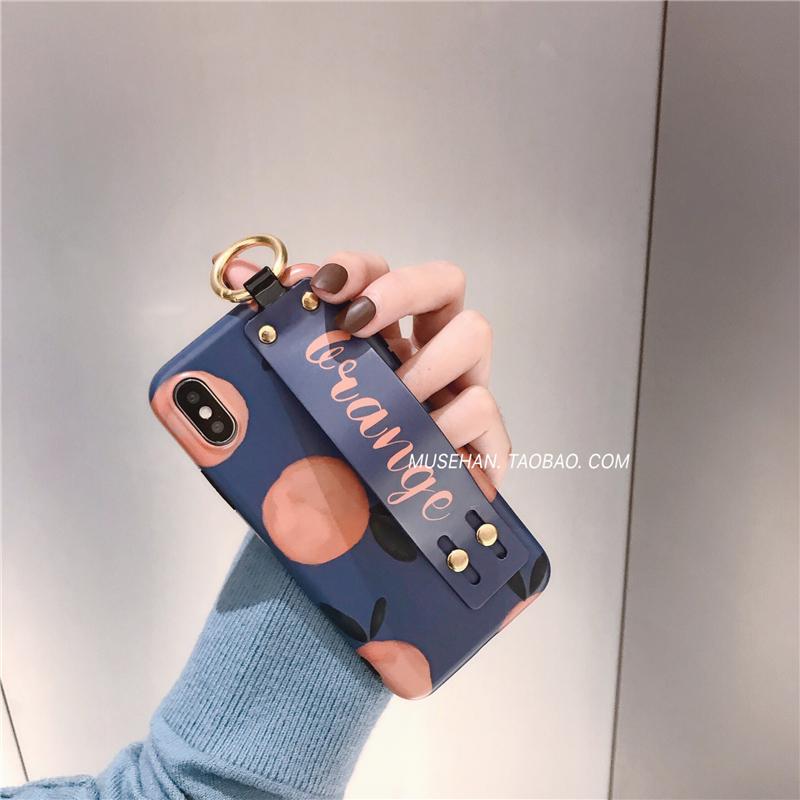 復古腕帶iPhonex手機殼個性橘子蘋果7plus/8/6s/xr/xs max保護套