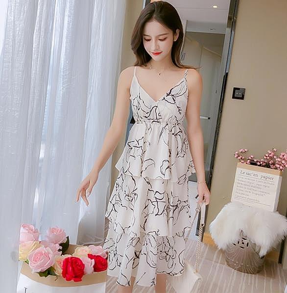 清倉$388 韓系閨蜜吊帶雪紡顯瘦蛋糕無袖洋裝