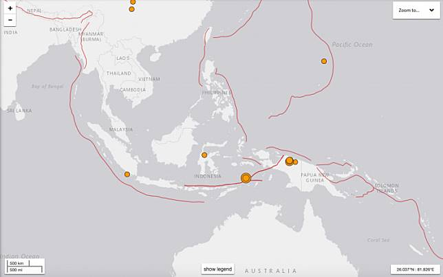 The latest earthquakes in Indonesia on June 24, 2019 as shown on the USGS website.
