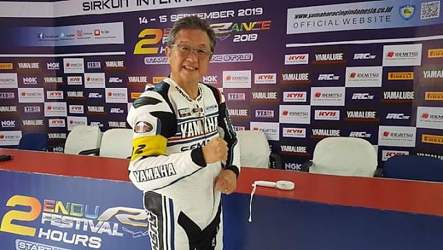Minoru Morimoto Presiden Direktur Yamaha Indonesia Motor Manifacturing ikut membalap Yamaha Endurance 2019. TEMPO/Eko Ari Wibowo