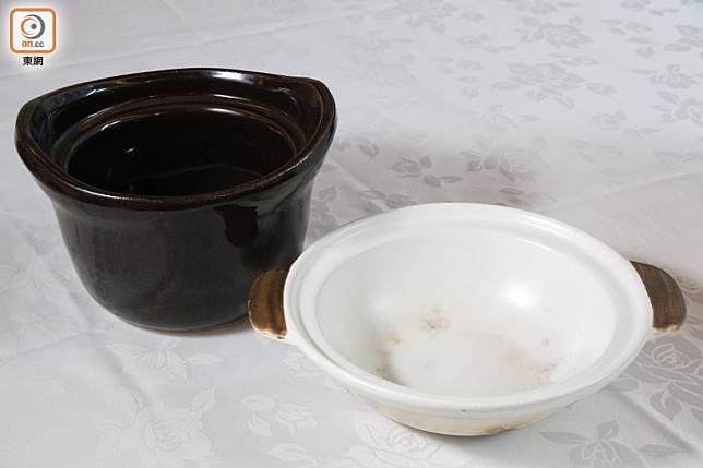 日式釜煲高身而厚邊,方便存氣保暖;瓦煲闊口方便放多點食材。(郭凱敏攝)