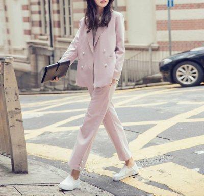 D3 韓國熱賣優雅氣質雙排釦珍珠扣長袖西裝外套 西裝褲 長褲 直筒褲 套裝 現貨S