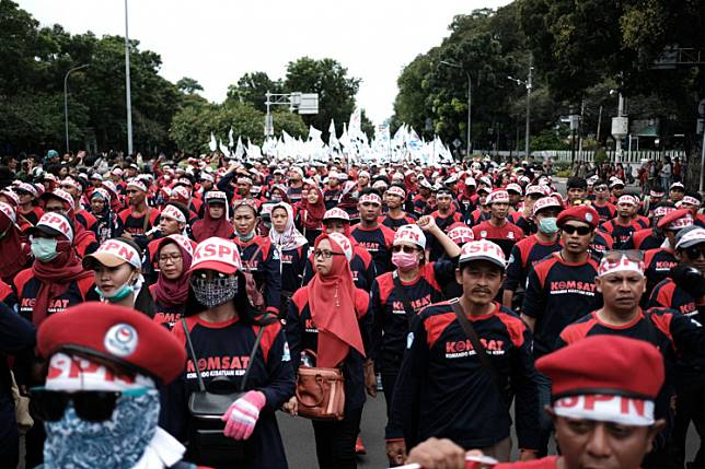 Workers during the annual May Day rally in Jakarta on May 1, 2019.