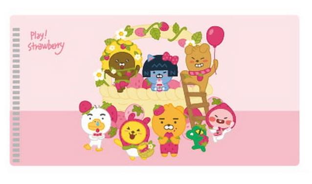 KAKAO FRIENDS-大集合草莓款口罩收納夾( 粉紅)