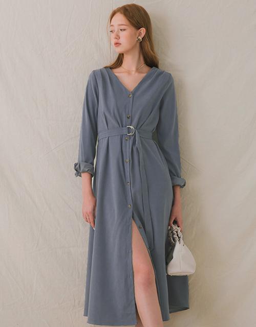 V領抓摺排釦開衩洋裝(附腰帶)