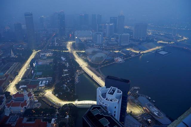 A view of the Singapore F1 Grand Prix night race Marina Bay street circuit shrouded by haze in Singapore, September 18, 2019.
