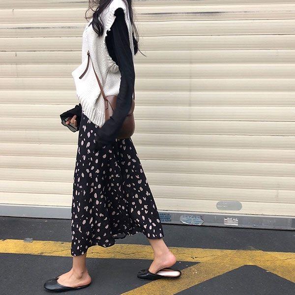 粉黑 豹紋 雪紡 長裙 半身裙 裙子 顯瘦 碎花 點點 百搭 花 韓國 NXS