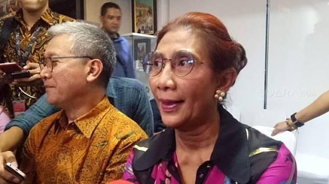 Menteri Kelautan dan Perikanan, Susi Pudjiastuti dalam Open House, Lebaran 2019 [Suara.com/Achmad Fauzi].