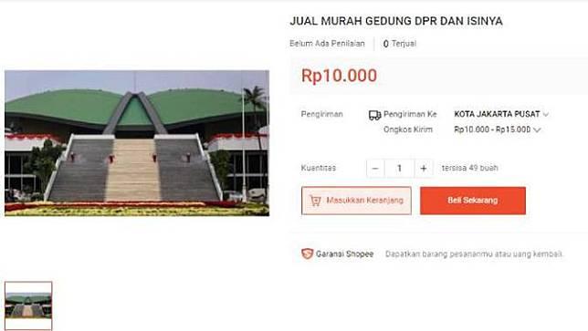 Gedung DPR Beserta Isinya Dijual Rp 10 Ribu di E-commerce. Dok: tangkapan layar dari laman Shopee