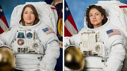 This undated combination photo obtained from NASA shows astronauts Christina Koch (left) and Jessica Meir. After an infamous spacesuit flub earlier this year that resulted in accusations of sexism, NASA now plans to carry out the first all-female spacewalk this week, it said on October 15, 2019. Koch and Meir will venture outside the International Space Station either October 17 or October 18 to replace a power controller unit that failed over the weekend.
