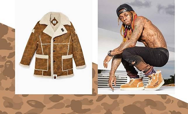 A BATHING APE® x UGG®聯名系列,有羊毛雪靴仲有羊毛大褸,仲要搵Rapper潮星Lil Wayne影造型照。(互聯網)