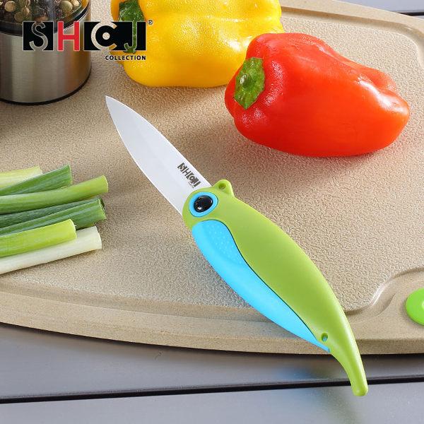 陶瓷水果折疊刀 SHCJ生活采家 創意小鳥 陶瓷水果刀 SGS合格 戶外露營刀具#48001