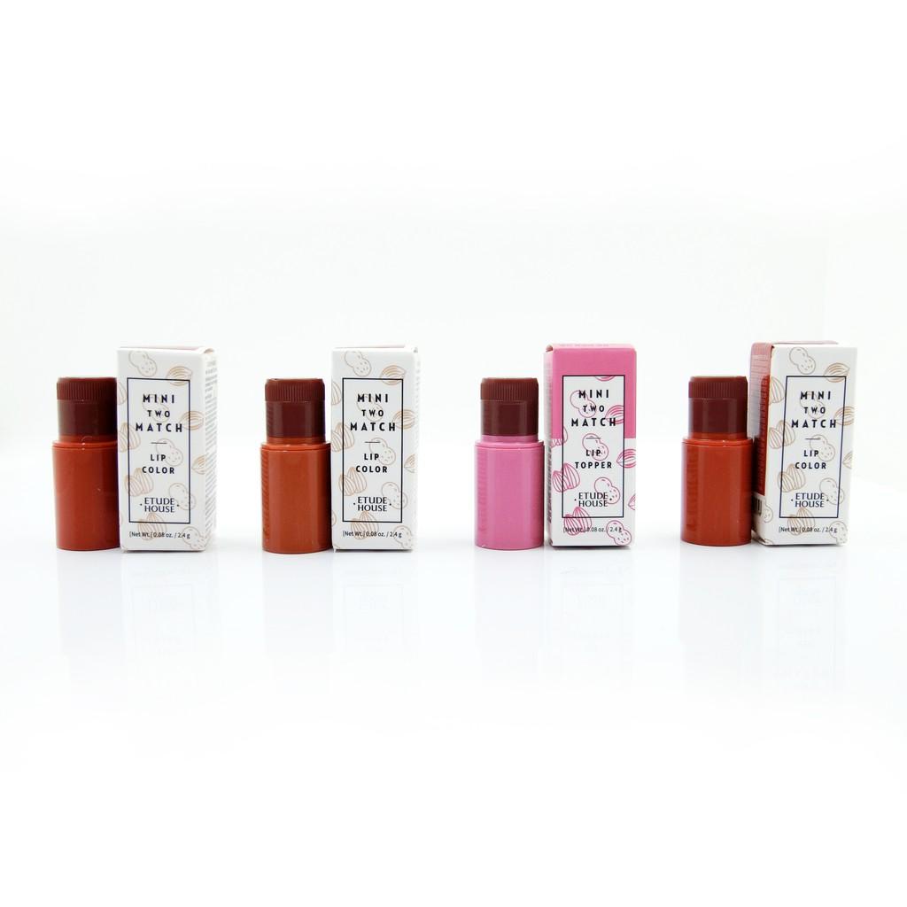 商品名稱: ETUDE HOUSE MINI TWO MATCH 雙色混搭百變唇膏 容量:2.4g 產地:韓國 來源:平行輸入 有效期限:3年 色號/規格:PK001 BR402 BR404 BR40