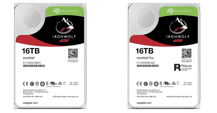 Seagate Exos 16TB 企業級氦氣硬碟開始出貨,NAS 專用硬碟 IronWolf 系列容量同步上探 16TB