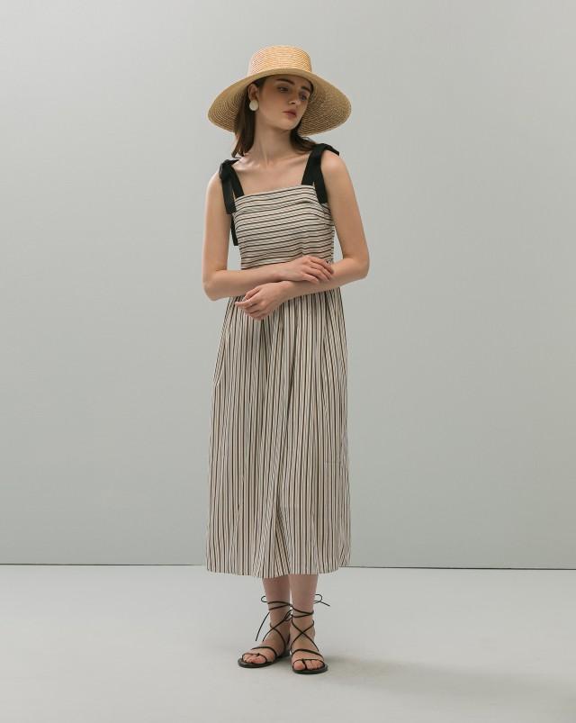 MEIERQ+綁帶配色直紋洋裝