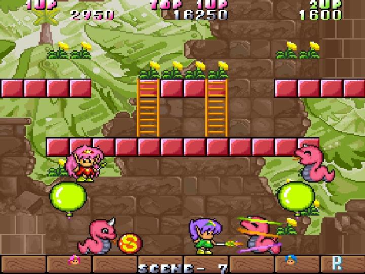 除了樓梯外,關卡中還有氣球等特殊機關可以協助玩家移動到更高的地方。