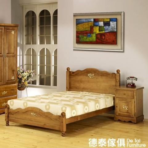 原木典藏 鄉村 彩繪 .玫瑰花 3.5尺單人床組 家具