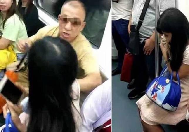 Penumpang kereta perempuan di Cina diancam oleh penumpang lansia laki-laki karena menolak memberikan kursi. Sumber: Weibo/asiaone.com