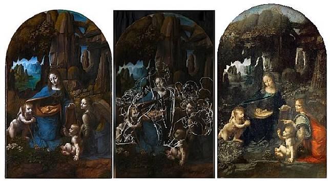 Lukisan Virgin of The Rocks karya Leonardo da Vinci yang disimpan Galeri nasional London (kiri), sketsa lukisan yang ada di balik lukisan (tengah), lukisan yang disimpan Museum Louvre Paris.(dok. Galeri Nasional London dan Museum Louvre)