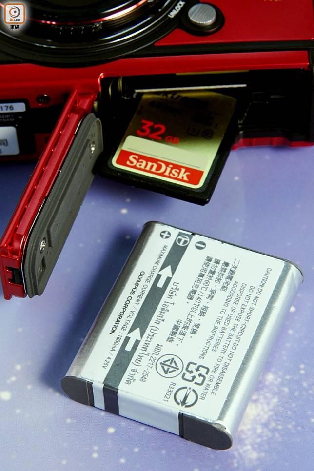 用上LI-92B鋰電池,可拍攝340張相片或約50分鐘影片。(方偉堅攝)