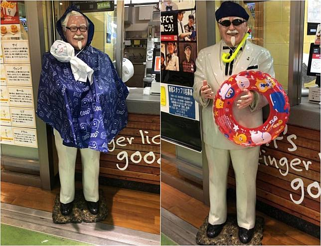 網友分享,其實這家分店常常會按照不同季節或節日,幫肯德基爺爺「換新裝」。(翻攝自推特)