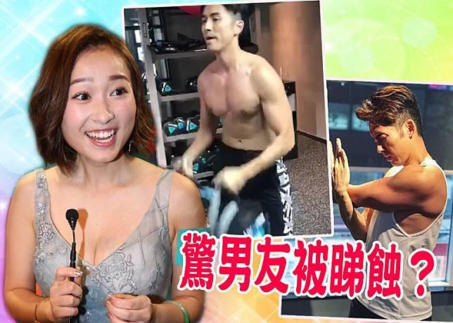 黃美棋為男友鍾健威打氣。