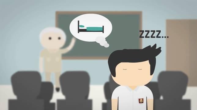 Daripada dengerin gurunya, mending tidur aja lah ya.. Siapa yang kaya begini juga pas kalau lagi belajar? Eits.. tapi jangan ditiru yah!