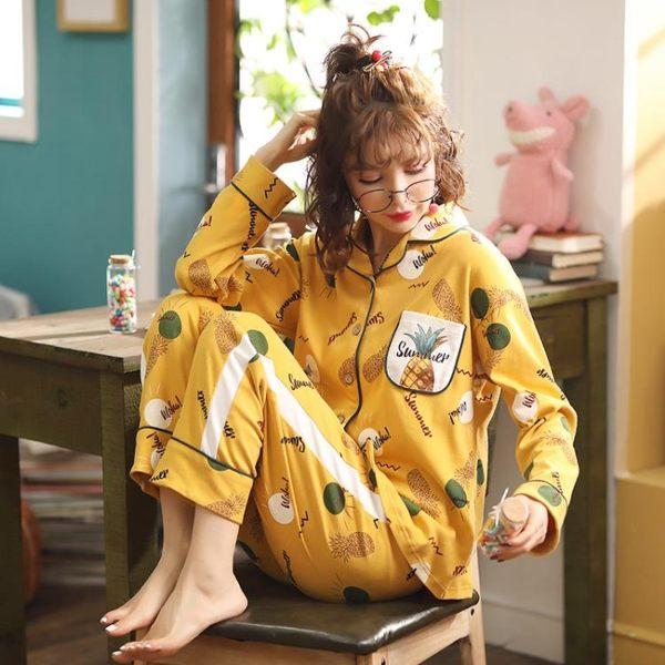 【預購款】居家服秋季精梳棉長袖睡衣套裝女開衫長褲可外穿甜美家居服14【時尚潮流部落】