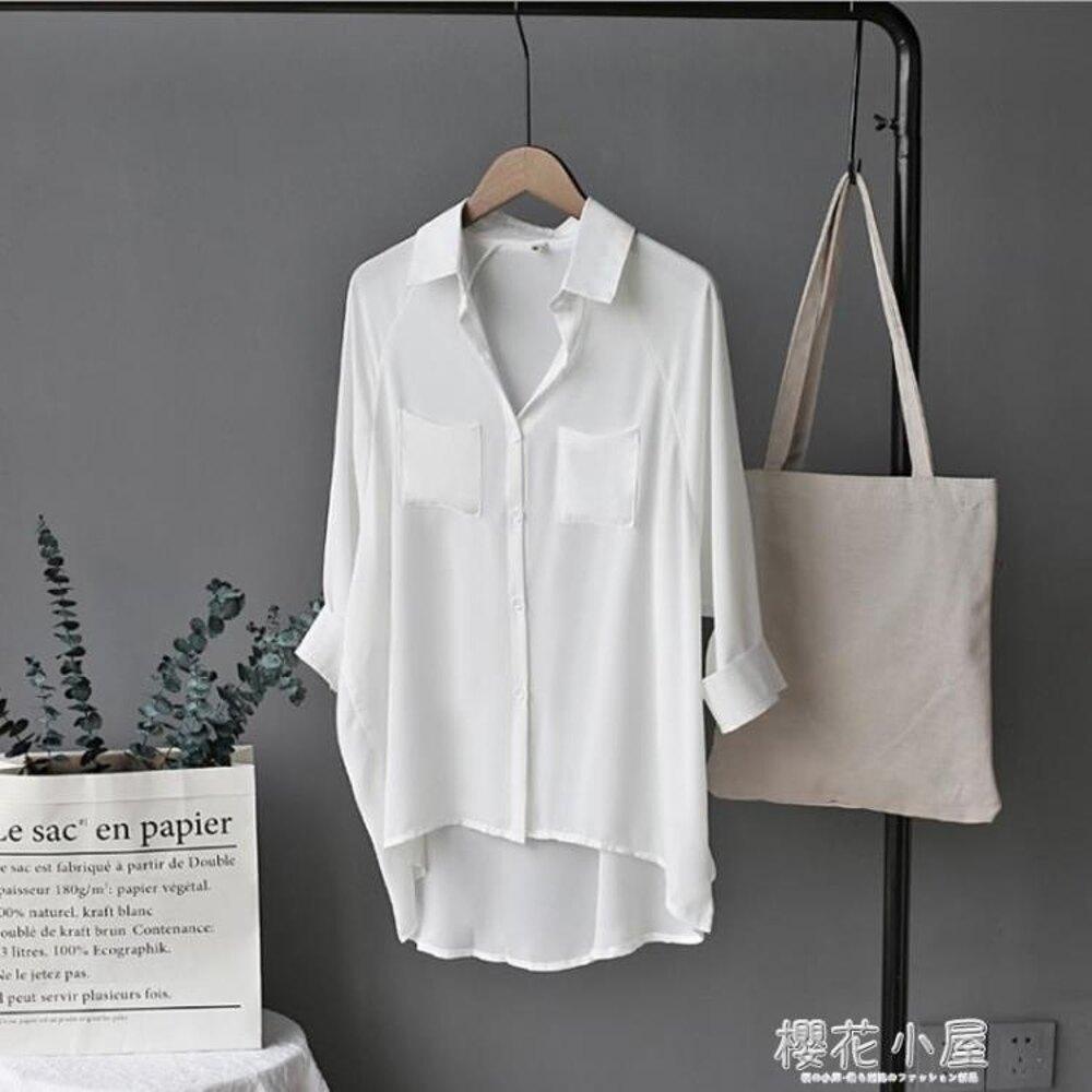 雪紡襯衫女七分袖韓國跳舞演出服寬鬆大碼百搭bf風秋季薄款白襯衣『櫻花小屋』