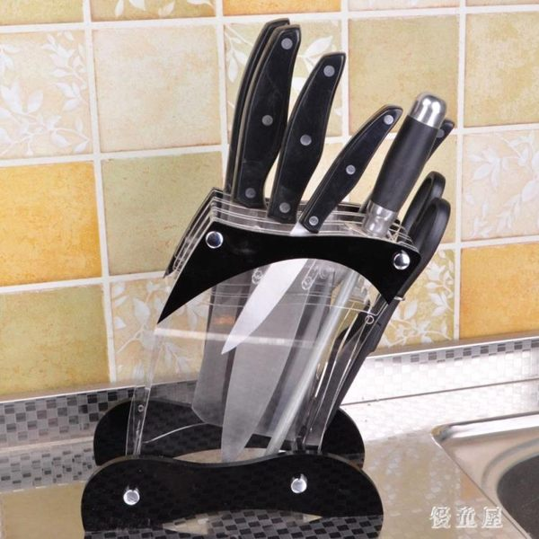 座廚房刀架 新款斜身有機玻璃菜刀架菜刀架(不含刀)廚房架收納 BT10715『優童屋』