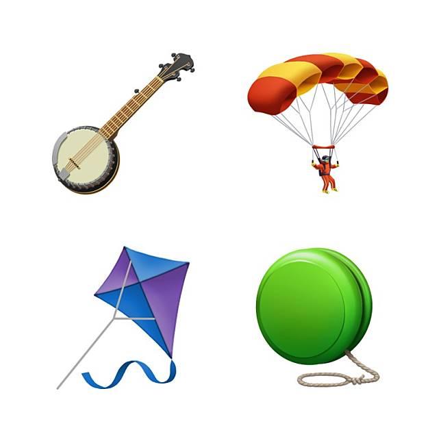 班祖琴、降落傘、風箏及搖搖,卡通化後依然神似。(互聯網)